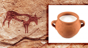 cave painting image next to a jar